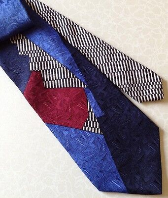 Pavone Silk Tie Made In Italy Abstract Blue Maroon Black & White Stripes Retro