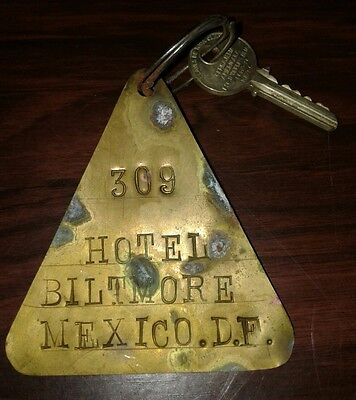 Hotel Biltmore Brass Tag Room Key Mexico D.F.