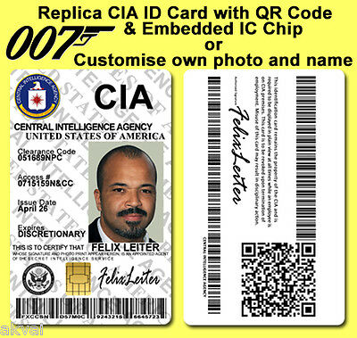 Felix Leiter CIA Casino Royale inspired PVC ID Card with PHYSICAL 4428  IC CHIP
