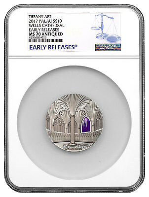 2017 Palau Tiffany Wells Cathedral 2 oz Silver Antiqued $50 NGC MS70 ER SKU47670