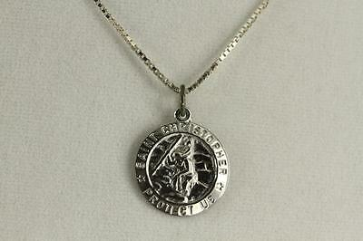 FINE JEWELRY STERLING Silver Catholic Religious SAINT CHRISTOPHER MEDAL  Necklace