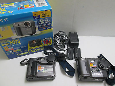 LOT of 2 Sony FD Mavica & Digital Cameras MVC-FD73 & OTHER