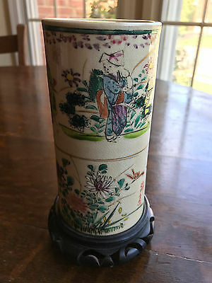Antique painted pottery brush pot, signed