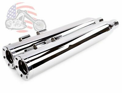 """4"""" Chrome Slip-On Mufflers Beveled End Caps Exhaust Pipes 2017 Harley Touring"""