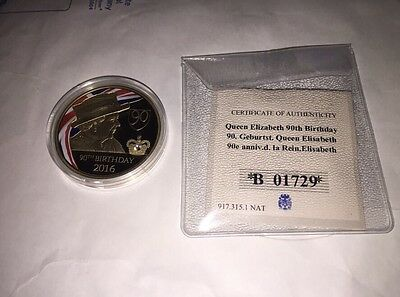 Windsor Mint Commemorative Coin Queen's 90th B'day with Crystal Ltd Edition
