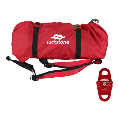 Rock Climbing Caving Rope Bag Backpack + Ground Sheet & 20KN Mobile Pulley
