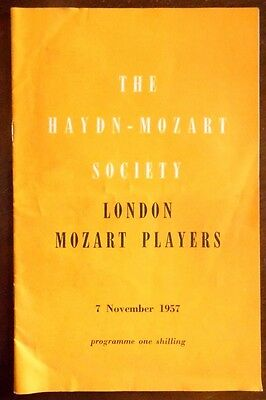 Royal Festival Hall, Programme 7th Nov 1957, London Mozart Players, Conducted by