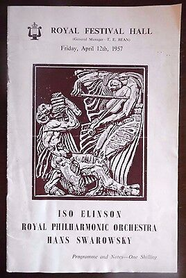 Royal Festival Hall, Programme 12th April 1957,Royal Philharmonic Orchestra with