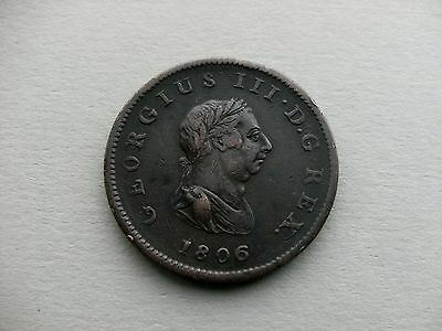King George III - 1806 Copper Half Penny Coin. Reference Spink 3781.