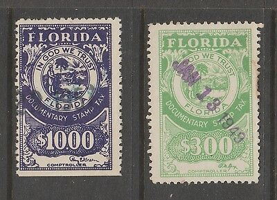USA  revenue fiscal  stamp -  510-46 Florida State as seen - Various Signatures