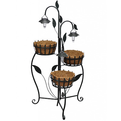 Outdoor Plant Rack Solar LED Garden 3 Baskets Patio Stand Decorate Home Balcony