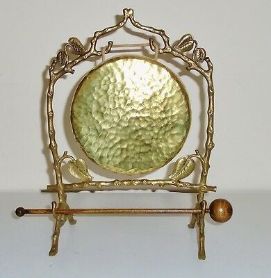 Authentic Antique Victorian Art Nouveau Brass Dinner Gong With Striker