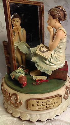 "Norman Rockwell ""Girl at Mirror"" Music Box Figurine Plays ""Beautiful Dreamer."""