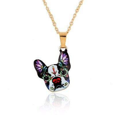 Colorful Sugar Skull Boston Terrier Dog Necklace Charm  ANIMAL RESCUE DONATION