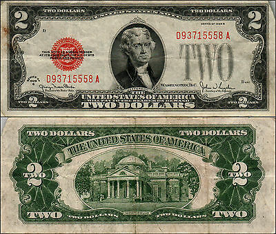 1928G $2 DOLLAR BILL OLD US NOTE LEGAL TENDER PAPER MONEY CURRENCY RED SL y461
