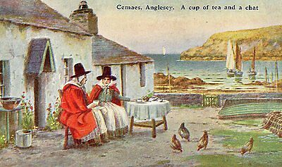 """A Cup of Tea & a Chat"" Cemaes, Anglesey, Wales artist signed..Warren Williams?"