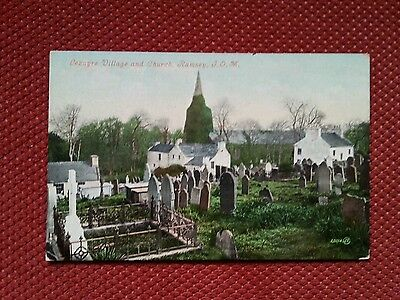 Early vintage Lezayre village church old cemetery graveyard Ramsey Isle of Man