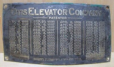 Antique OTIS ELEVATOR COMPANY Brass Nameplate Tag Sm Sign Turn of Century 1900+-