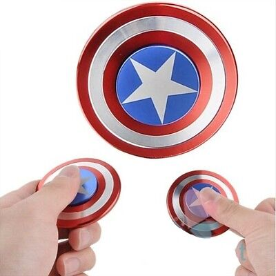 UK Captain America Shield Fidget Hand Titanium Spinner Toy EDC Focus ADHD Autism