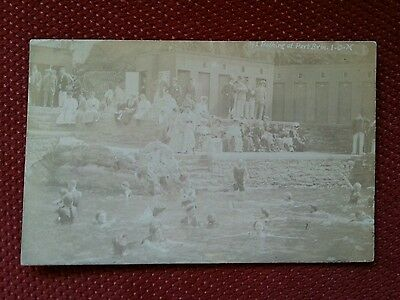 RP 1908 Open air bathing at Port Erin Isle of Man real photo IOM Manx swimming