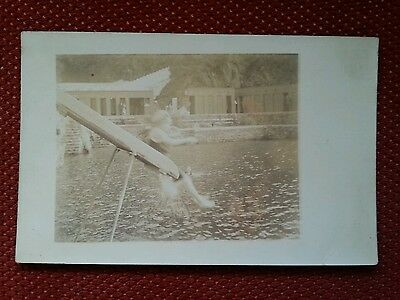 Early vintage RP slide at Port Erin open air pool Isle of Man real photo swimmin