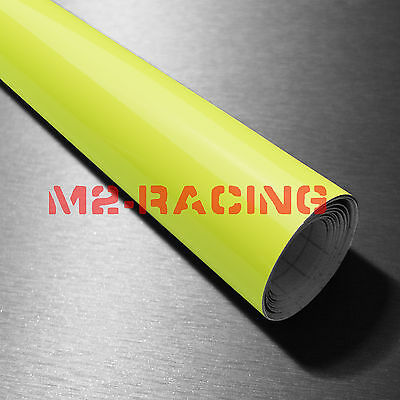 "39""x120"" Fluorescent Yellow Vinyl Self Adhesive Decal Plotter Sign Sticker Film"