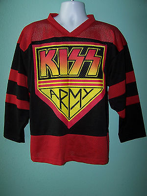 Vintage KISS ARMY 90s 1999 Mens 3/4 Sleeve Heavy Metal Hockey Jersey Size L