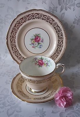 Vintage Paragon Bone China  Pink Roses Peach Gilded Teacup Saucer Sideplate Trio
