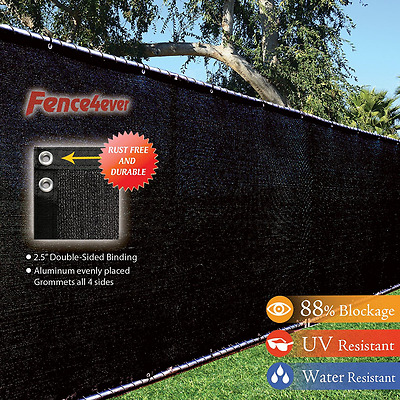 Fence4ever 8' x 50' 3rd Gen Black Fence Privacy Screen Windscreen Shade Fabric M