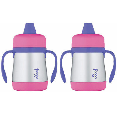 Thermos Foogo Vacuum Insulated 7oz Sippy Cup w/Handles (Pink/Purple) 2PK