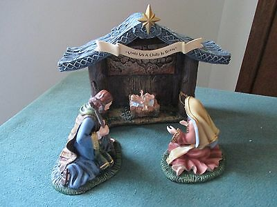 "Hawthorne Village Thomas Kinkade ""Holy Night Crèche"" and the Three Kings/Angel"