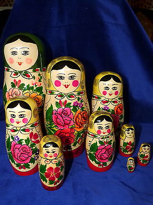 nesting Russian dolls old hand painted