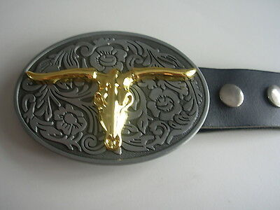 Belt Buckle Gold Buffalo  With Genuine Leather Snap On Belt Waist 28 - 52