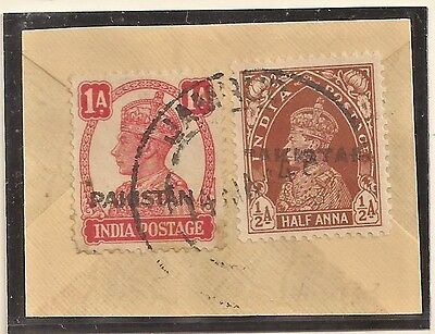 Pakistan Overprint Handstamp Peshawar Metal Die On Indian Stamps Kgvi