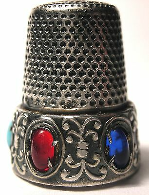 Hard to Find Italian Sterling Silver Thimble Multi-Color Cabochon Stones c.1960s