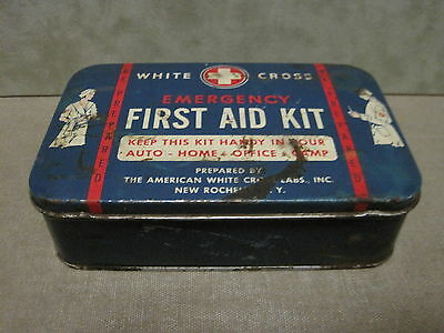 White Cross Tin First Aid Kit full Auto Glove Box with contents from 1940s