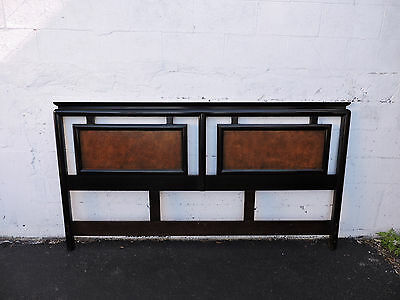 Hollywood Regency Mid Century Two Tone Burl Wood King Size Headboard 8441