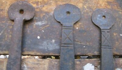 Hand Forged Iron Gate Door Hardware Hinges Primitve 3 pc