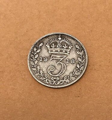 British Threepence 1918 George V Silver Coin