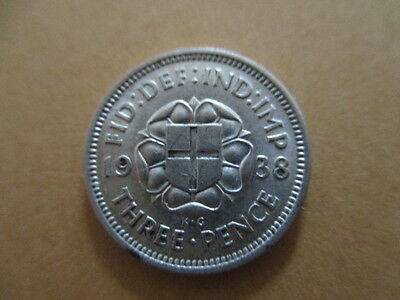 BRITISH THREEPENCE 1938 GEORGE VI Nice Silver Coin.
