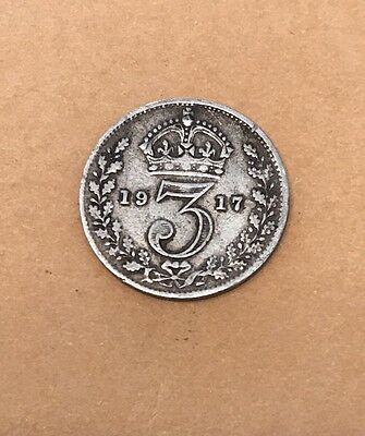 British Threepence 1917 George V Silver Coin