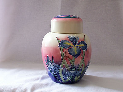 "old tupton ware, iris pattern, art deco style  6"" ginger jar with lid."