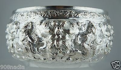 Antique Asian Silver Burmese Bowl Hand Chased Dancers & Flowers Burma