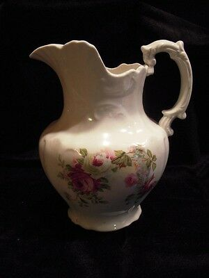 7-inch Antique Victorian White Ironstone Pitcher with Rose Decal Designs