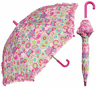 "32"" Children Kid Owl Print Pink Umbrella - RainStoppers Rain/Sun UV"