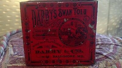 advertising tin box antique Darby's swan tolu rare