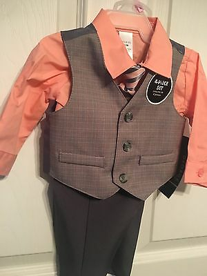 Brand New Infant Boys George 4-Piece Vest Shirt Pants Tie Suit Set 0-3M