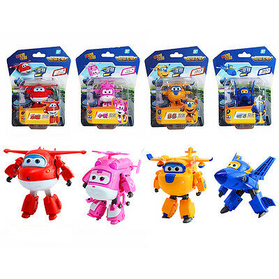 4pcs Mini Super Wings Transformer Robot Planes Toys Jett Donnie Birthday Gifts