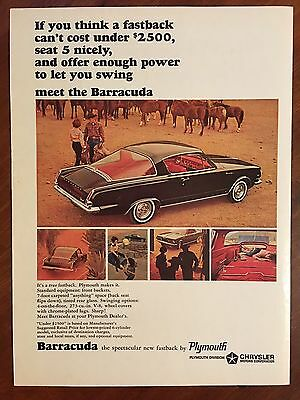Vintage 1964 Original Print Ad PLYMOUTH BARRACUDA FASTBACK