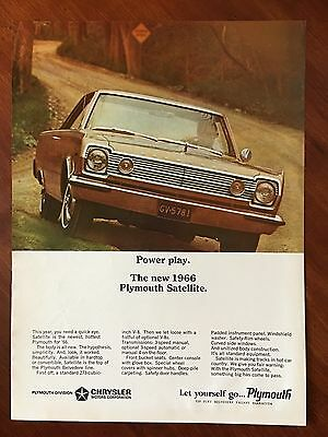 Vintage 1966 Original Print Ad PLYMOUTH BELVEDERE SATELLITE ~Power Play~